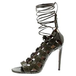 Aquazzura Khaki Green Python Leather Amazon Lace Up Open Toe Sandals Size 35 185482