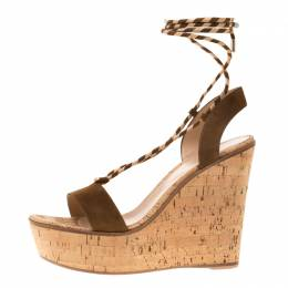 Gianvito Rossi Metallic Gold Leather Ankle Wrap Cork Wedge Sandals Size 40 184212