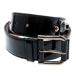 Dolce&Gabbana Black Patent Leather Belt Size 85CM 187806
