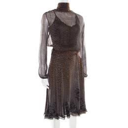 Roberto Cavalli Class Grey Animal Printed Glitter Detail Cutout Back Dress M 186497