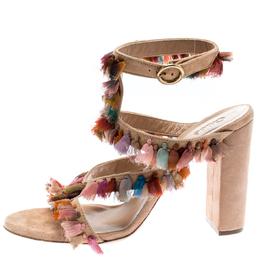 Chloe Multicolor Silk Tassel Liz Block Heel Ankle Cuff Peep Toe Sandals Size 36 186930