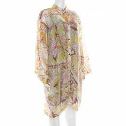 Emilio Pucci Multicolor Washed Out Printed Cotton and Silk Shirt Dress L