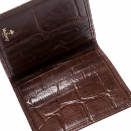 Mulberry Brown Croc Embossed Leather Bifold Card Case 192785