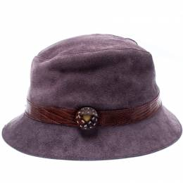 Tod's Purple Suede and Lizard Trim Bowler Hat