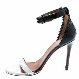Givenchy Monochrome Leather Ankle Strap Open Toe Sandals Size 37.5 193661