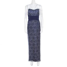 Badgley Mischka Blue Floral Metallic Lace Maxi Dress and Bolero Set L 194682