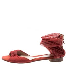 Fendi Orange Chiffon/Suede Wrap Flat Sandals Size 39 195147