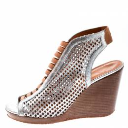 Marc By Marc Jacobs Metallic Silver Perforated Leather Susanna Wedge Platform Sandals Size 40.5 195670