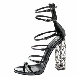 Giuseppe Zanotti Design Black Patent Leather Lauren Metal Cage Heel Strappy Sandals Size 36 272718
