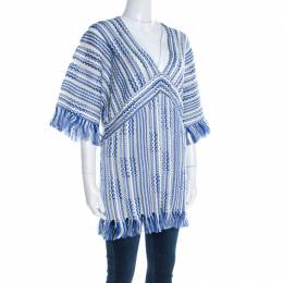 Tory Burch Blue and White Textured Linen and Cotton Fringed Gwen Tunic XL 196964