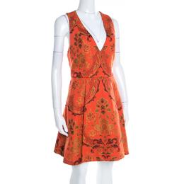 Alice + Olivia Orange Brocade Racer Back Fit and Flare Mollie Dress M 196967