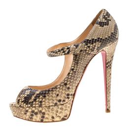 Christian Louboutin Two Tone Python Leather Lowa Zeppa Peep Toe Mary Jane Pumps Size 40.5
