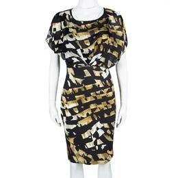 Blumarine Black Printed Overlay Short Sleeve Dress S 109302