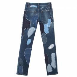 Dolce&Gabbana Indigo Faded Effect Patchwork Detail Distressed Skinny Jeans S 164222