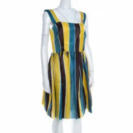Dolce&Gabbana Multicolor Stripe Printed Silk Sleeveless Dress M 198344