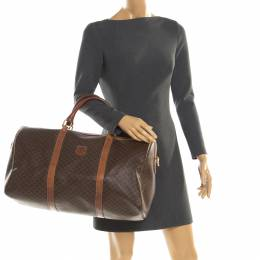 Celine Brown Macadam Coated Canvas and Leather Duffle Bag