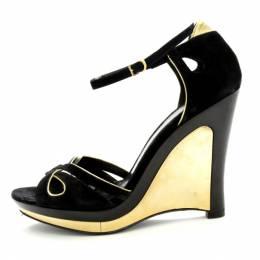 Fendi Black Metallic Suede Wedge Sandals Size 38.5 198590