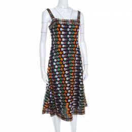Tory Burch Multicolor Floral Embroidered Mesh A Line Dress S 198730