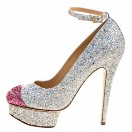 Charlotte Olympia Silver Coarse Glitter Kiss Me Dolores! Ankle Strap Platform Pumps Size 40