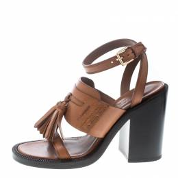 Burberry Cognac Brown Leather Bethany Tassel Detail Block Heel Sandals Size 38 160234