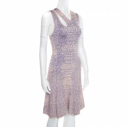 MCQ by Alexander McQueen Pink and Blue Crocodile Patterned Jacquard Fit and Flare Dress XS 163411