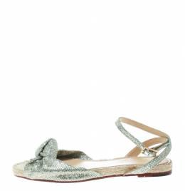 Charlotte Olympia Metallic Silver Glitter Fabric Marina Knot Ankle Strap Flat Sandals Size 38.5