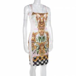 Just Cavalli Multicolor Printed Satin Square Neck Sleeveless Dress S 179528