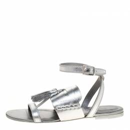 Burberry Metallic Silver Leather Bethany Tassel Detail Flat Sandals Size 38.5 180004