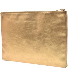Saint Laurent Paris Gold Leather Zip Clutch Bag