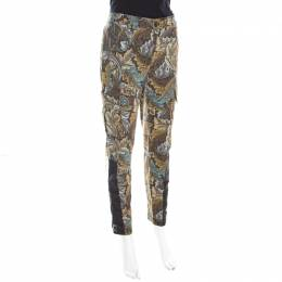 Marc By Marc Jacobs Elm Brown Acanthus Print Cotton Herringbone Tapered Cargo Pants S 198747