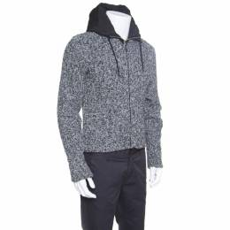 Dolce&Gabbana Grey Melange Wool Quilted Vest Underlay Zip Front Hooded Jacket S 152489