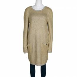 See By Chloe Mustard Yellow and Gold Long Sleeve Chunky Sweater Dress XL