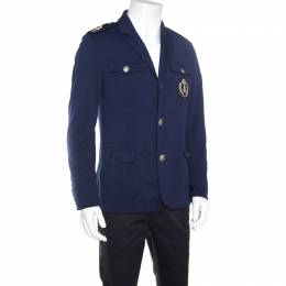 Philipp Plein Navy Blue Embellished Crest and Epaulette Detail Jacket L 160831