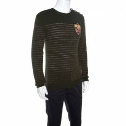 Balmain Military Green Striped Lurex and Merino Wool Crest Badge Detail Sweater L 160805