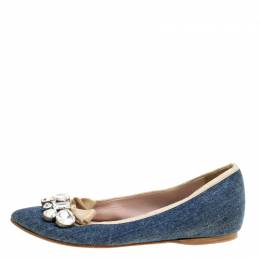 Miu Miu Blue Denim Crystal Embellished Bow Detail Pointed Toe Ballet Flats Size 36 164275