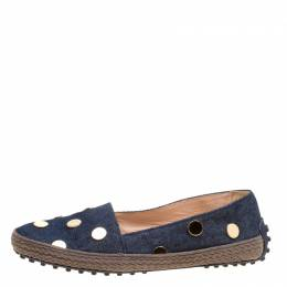 Tod's Dark Wash Denim Studded Espadrille Flats Size 36.5 164287