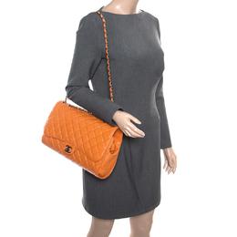 Chanel Orange Leather Drawstring Flap Shopping Bag 165911