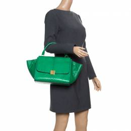 Celine Green Python and Leather Small Trapeze Bag 167675