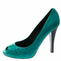 Bottega Veneta Green Leather Intrecciato Peep Toe Platform Pumps Size 41 177504