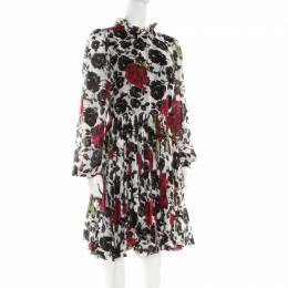 Dolce&Gabbana Multicolor Rose Printed Silk Long Sleeve Dress M 181360