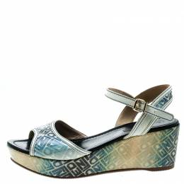 Fendi Multicolor Printed Canvas And Leather Trim Platform Wedge Sandals Size 41 279163