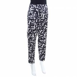 Moschino Monochrome Rose Printed Satin Tailored Trousers M 196950
