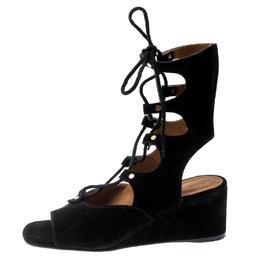 Chloe Black Suede Gladiator Wedge Sandals Size 39 197701