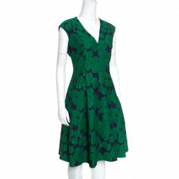Ch Carolina Herrera Green Brocade Fit and Flare Sleeveless Dress L 156773