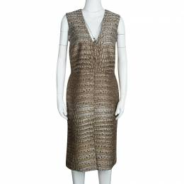 Stella McCartney Beige Crocodile Effect Jacquard Sleeveless Giona Dress M 107264