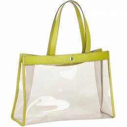 Burberry White and Green Vinyl Tote Bag