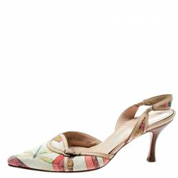 Salvatore Ferragamo Multicolor Printed Canvas And Leather Trim Pointed Toe Slingback Sandals Size 37 182058