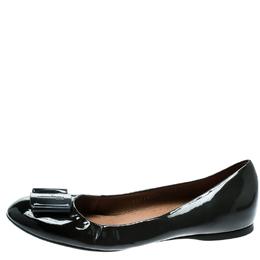 Salvatore Ferragamo Dark Grey Patent Leather Degrade Ballet Flats Size 38.5 182017
