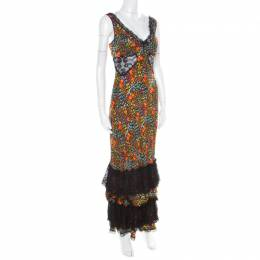 Dolce&Gabbana Multicolor Floral Print Silk Sheer Lace Insert Sleeveless Maxi Dress M 182004