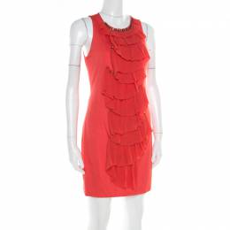 3.1 Phillip Lim Orange Stretch Knit Chiffon Ruffled Embellished Sleeveless Dress M 182076